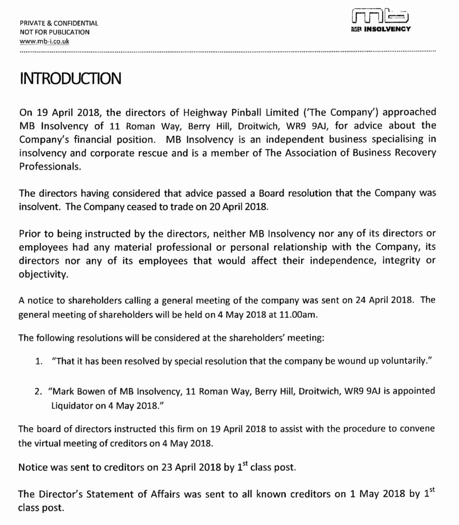 Insolvency Letter to Creditors Template Beautiful Heighway Pinball by the Numbers – Wel E to Pinball News