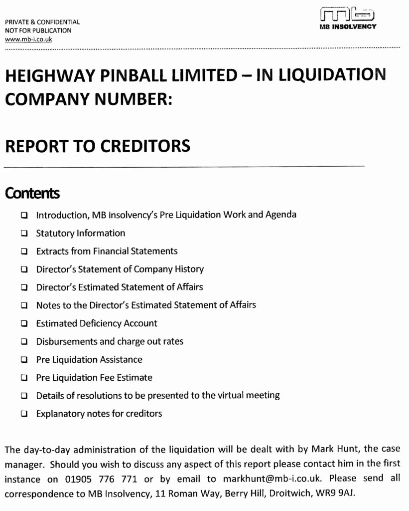 Insolvency Letter to Creditors Template Inspirational Heighway Pinball by the Numbers – Wel E to Pinball News