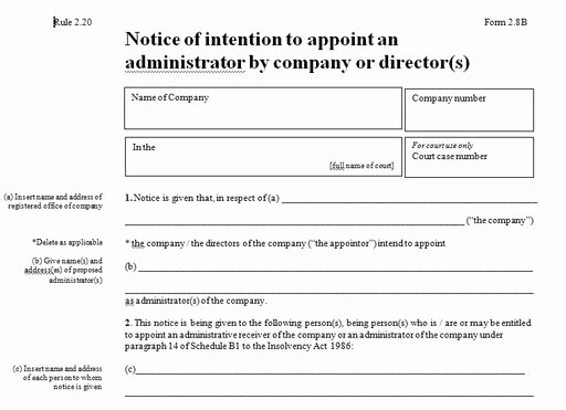 Insolvency Letter to Creditors Template Lovely Notice Of Intention to Appoint Administrators What Does