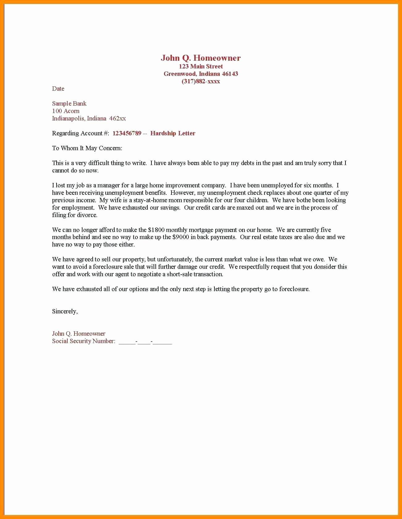 Insolvency Letter to Creditors Template Luxury Hardship Letter to Creditors Template Collection