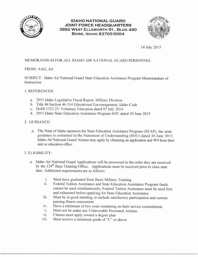 Instruction Memo Example Beautiful Idaho State Educational assistance Memorandum