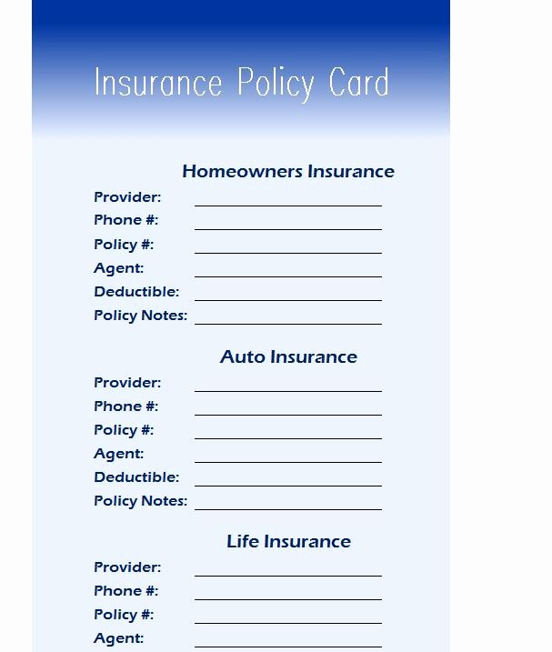 Insurance Card Template Pdf Beautiful Insurance Policy Card My Excel Templates