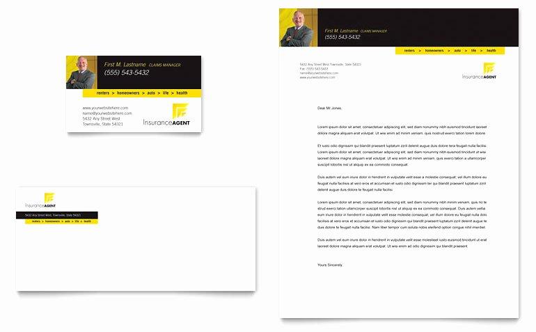 Insurance Card Template Pdf Elegant Insurance Agent Business Card & Letterhead Template Word