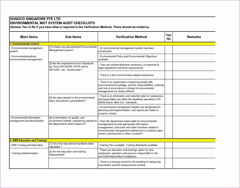 Internal Audit Checklist Template Excel Awesome 6 Audit Checklist Template Excel Exceltemplates