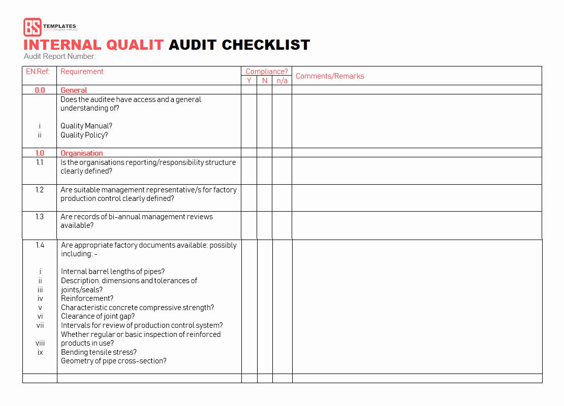 Internal Audit Checklist Template Excel Luxury 15 Internal Audit Checklist Templates Samples Examples