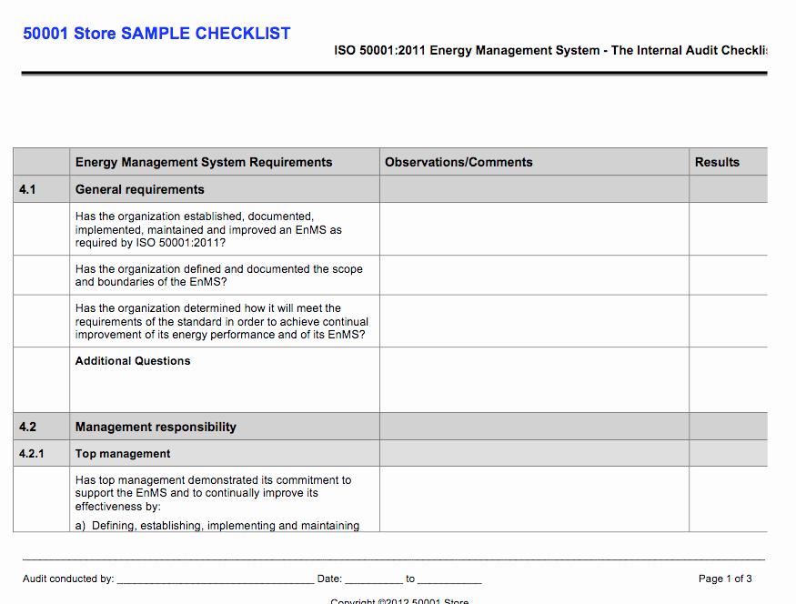 Internal Audit Checklist Template Excel Luxury iso Internal Auditor Checklist Store