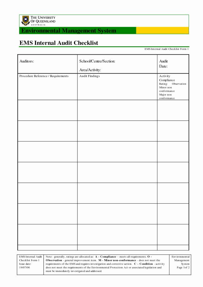 Internal Audit Checklist Template Excel Unique Best Ems Internal Audit Checklist form Template with Table