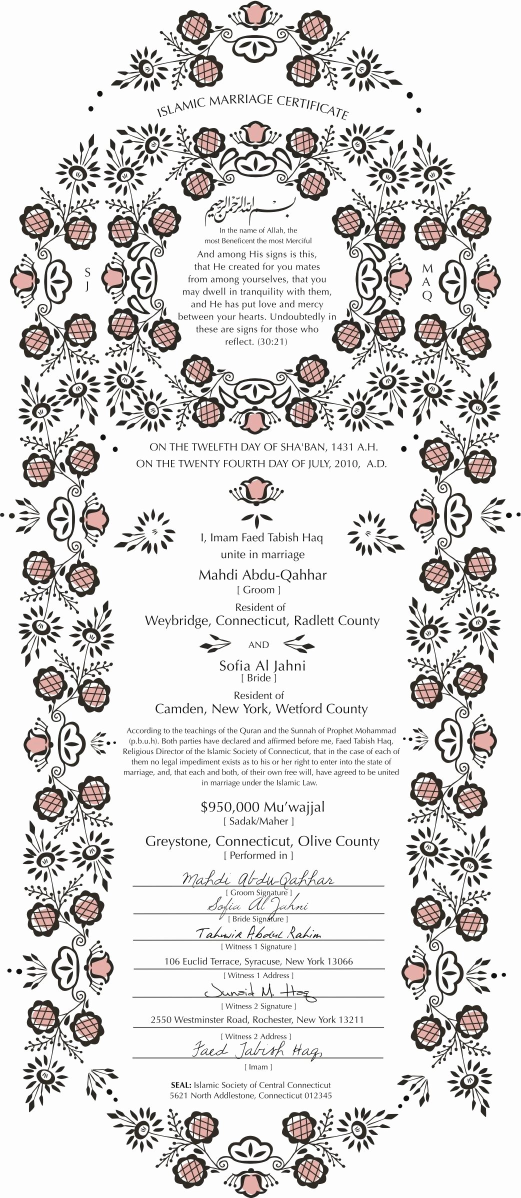 Islamic Marriage Certificate Template Awesome Nikkahanama islamic Marriage Certificate Design Example