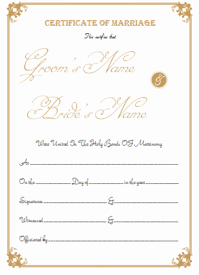Islamic Marriage Certificate Template Best Of Marriage Certificate Template Write Your Own Certificate