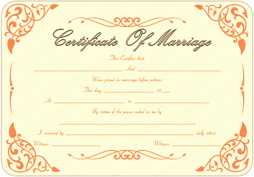 Islamic Marriage Certificate Template Elegant Printable Marriage Certificate Template