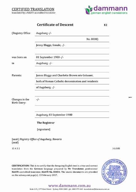 Italian Birth Certificate Translation Template Unique A Description Of A German Birth Certificate Translation