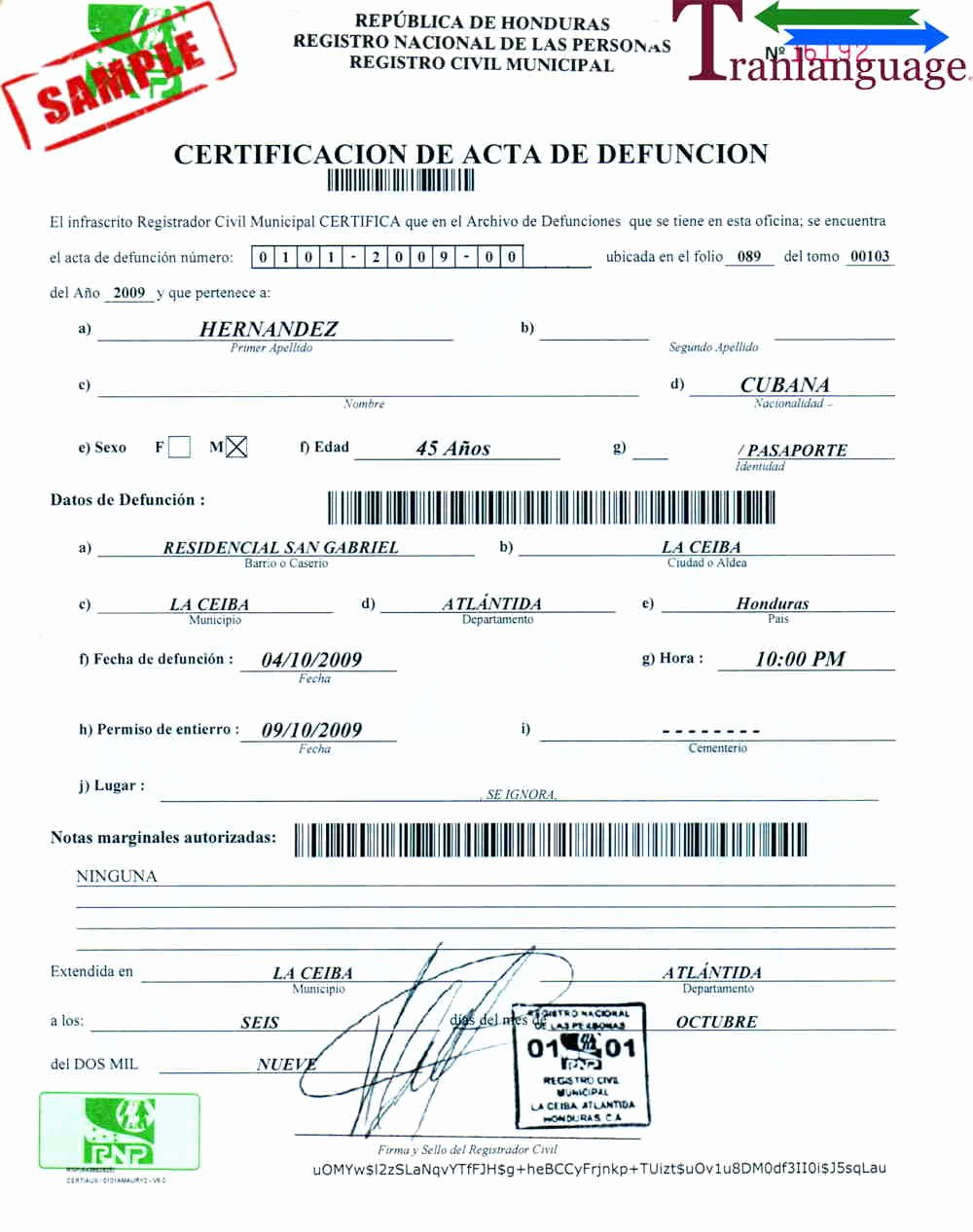 Japanese Birth Certificate Translation Template Best Of Death Certificate Honduras