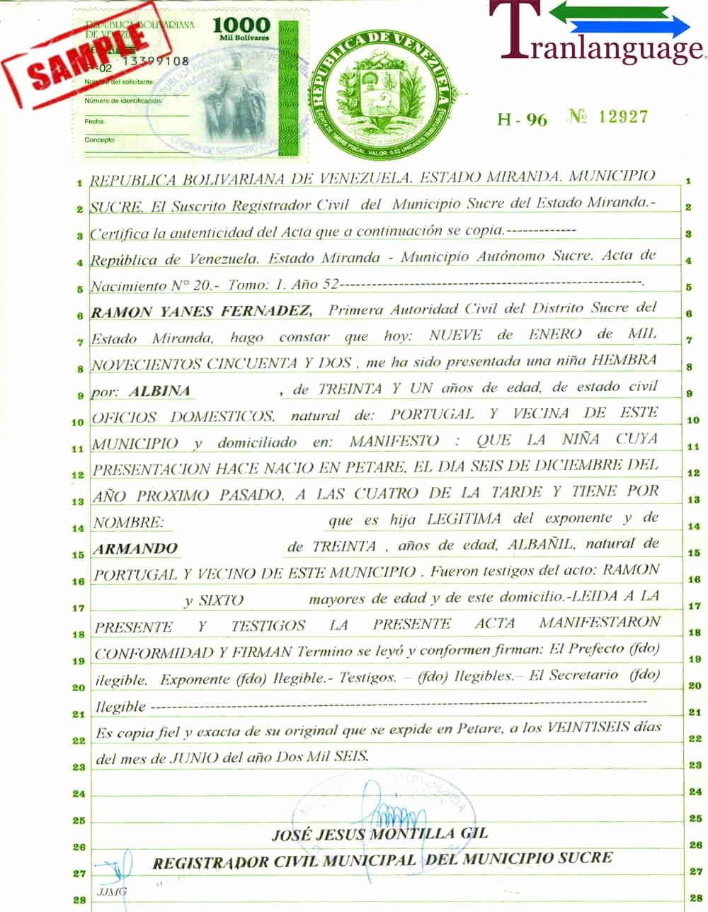 Japanese Birth Certificate Translation Template Elegant Birth Certificate Venezuela
