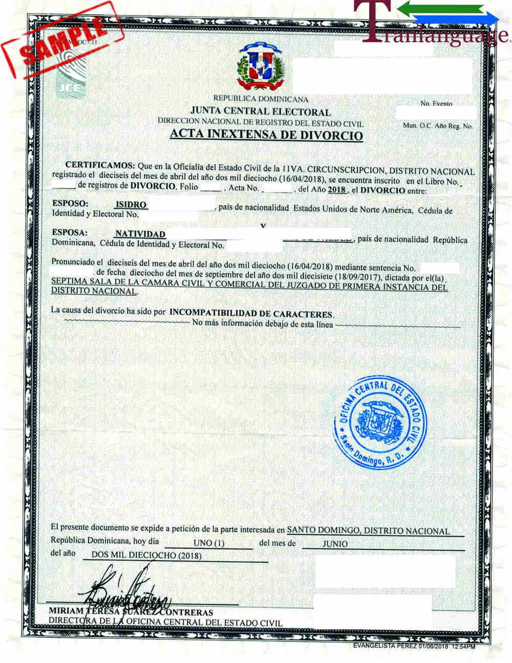 Japanese Birth Certificate Translation Template Elegant Divorce Certificate Dominican Republic