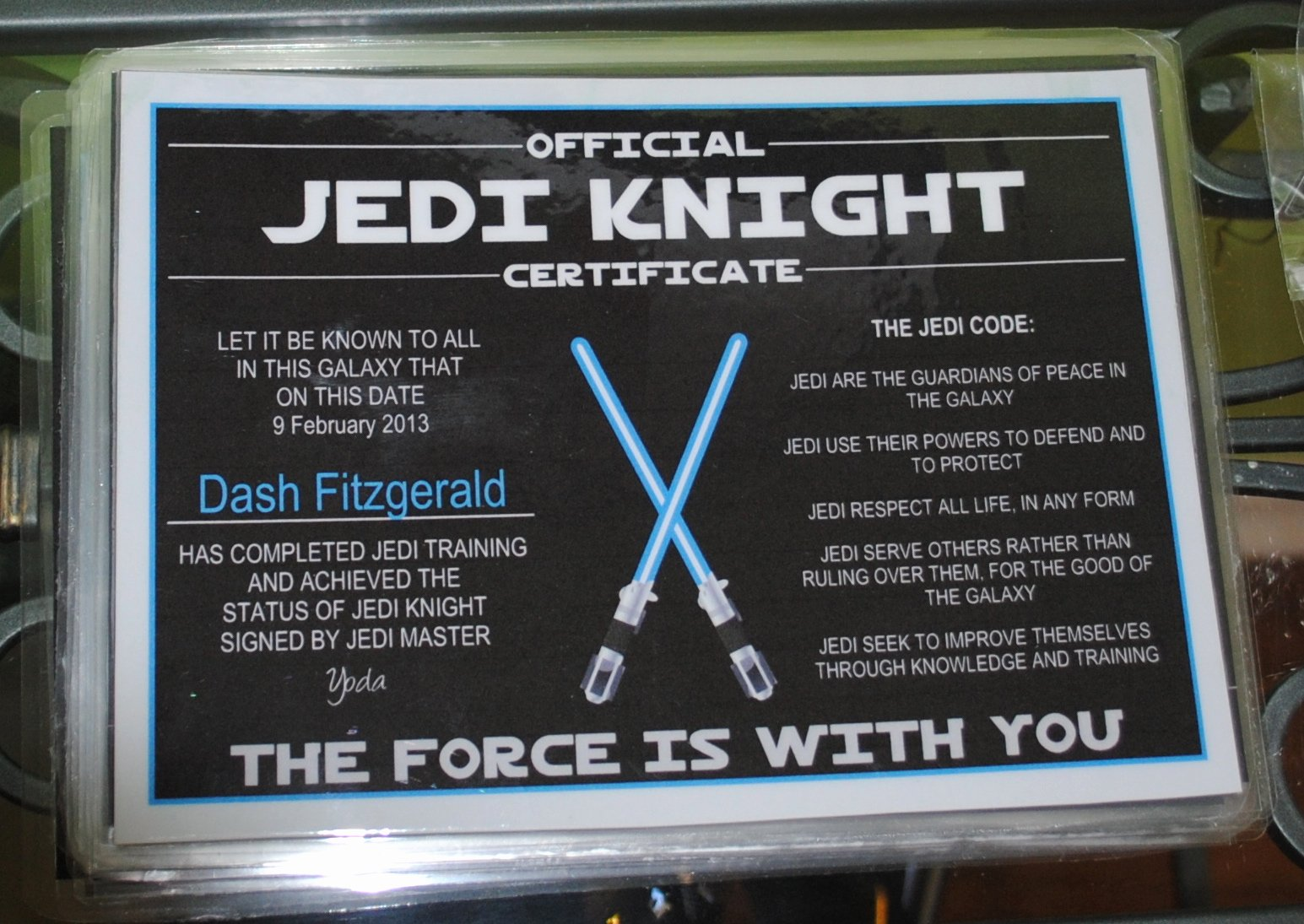Jedi Knight Certificate Template Awesome Star Wars Birthday Party