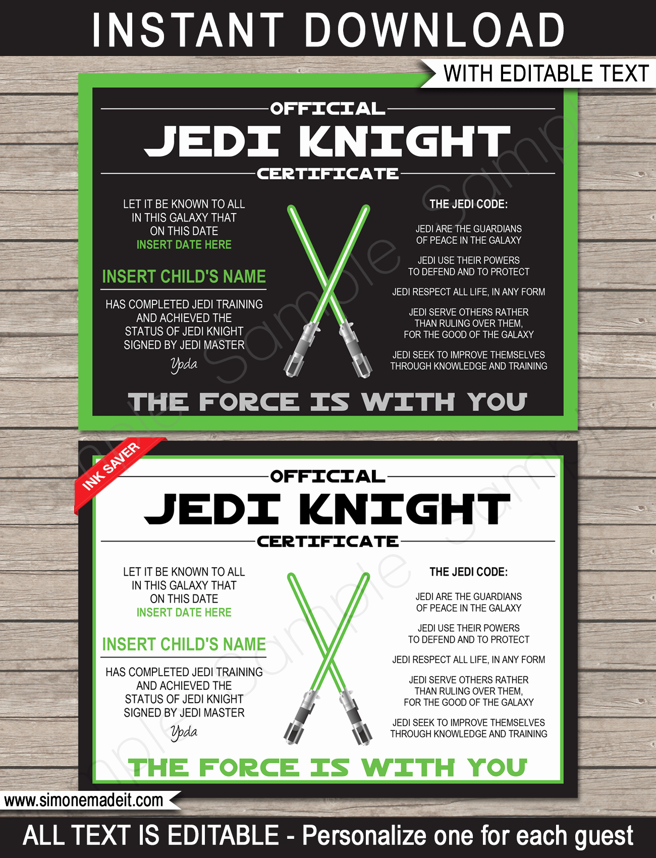 Jedi Knight Certificate Template Beautiful Star Wars Jedi Certificates