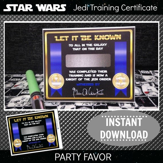 Jedi Knight Certificate Template Beautiful Star Wars Jedi Training Certificate Gold Printable