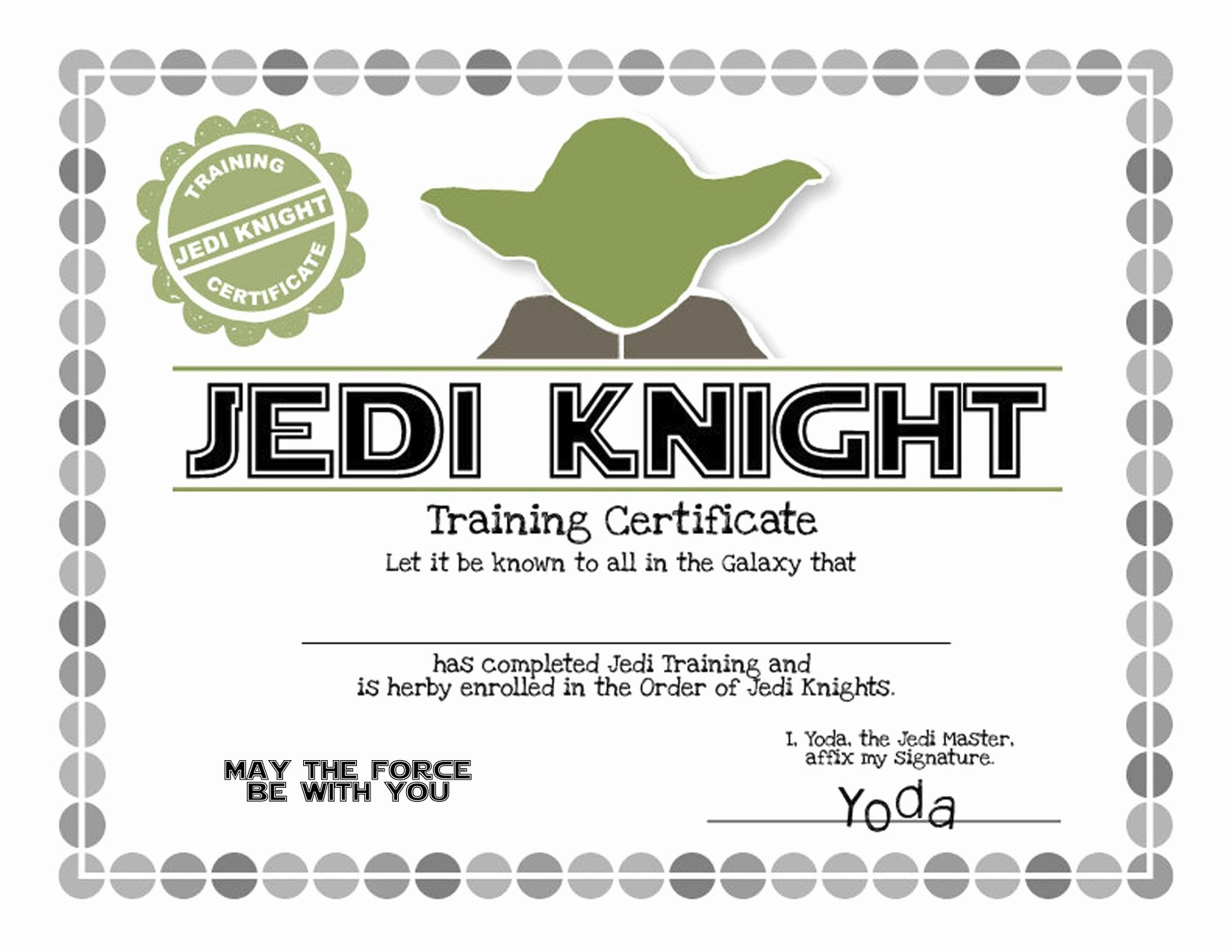 Jedi Knight Certificate Template Elegant Star Wars Birthday Party Ideas Invitation Games
