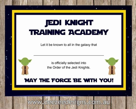 Jedi Knight Certificate Template Fresh Printable Star Wars Jedi Certificate Instant by Deezeedesign