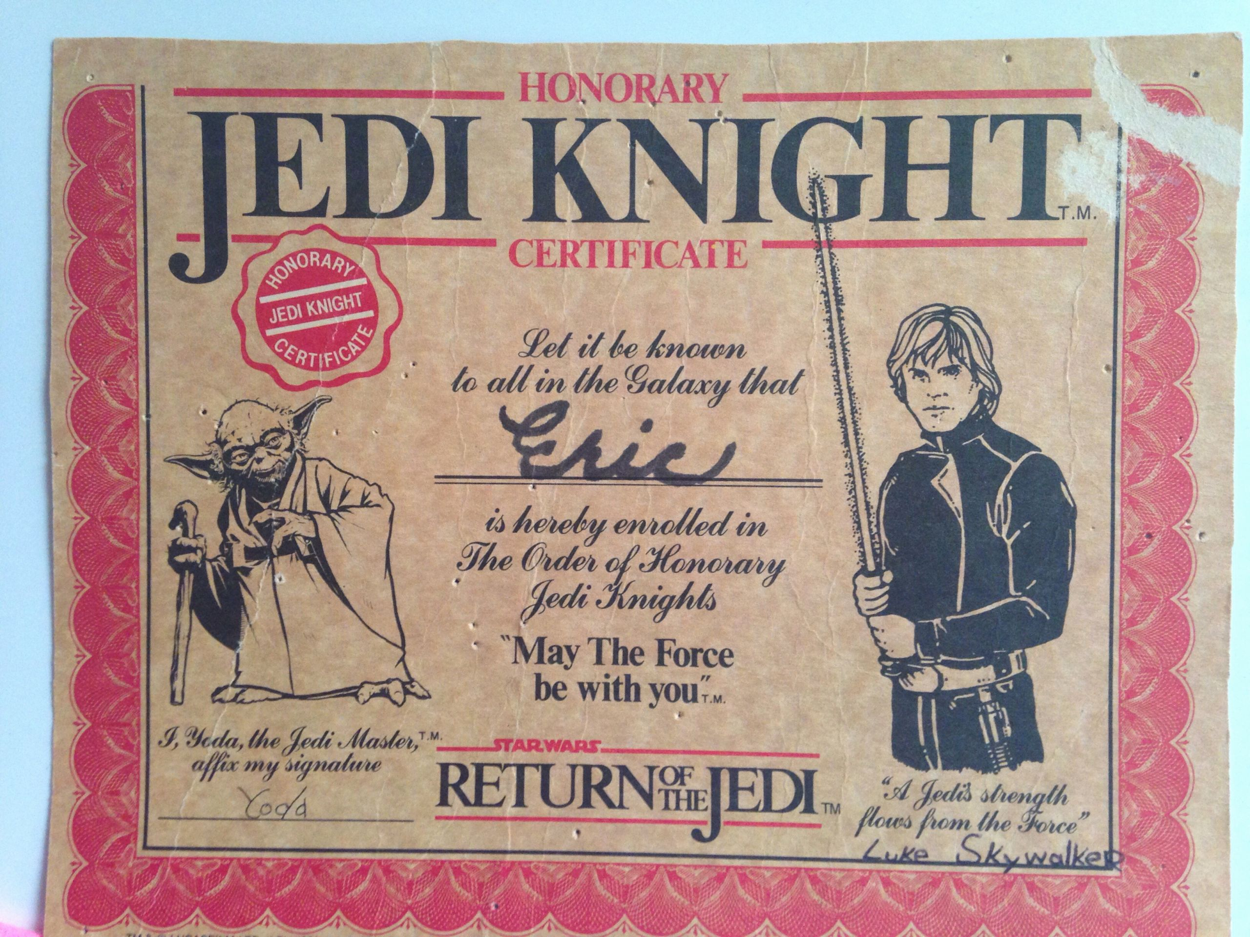 Jedi Knight Certificate Template Inspirational Jedi Knight Certificate Starwars