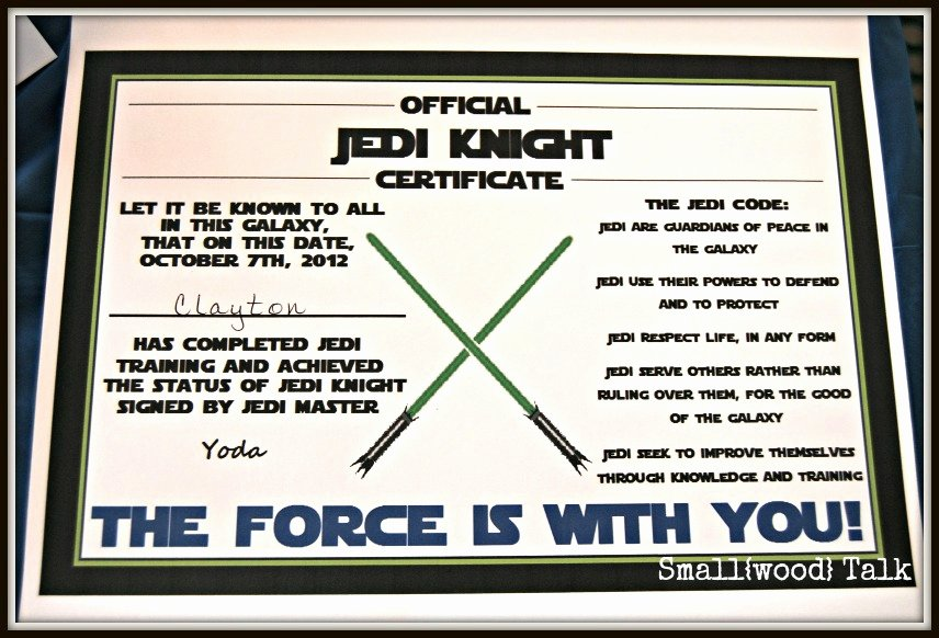 Jedi Knight Certificate Template Inspirational Small Wood Talk