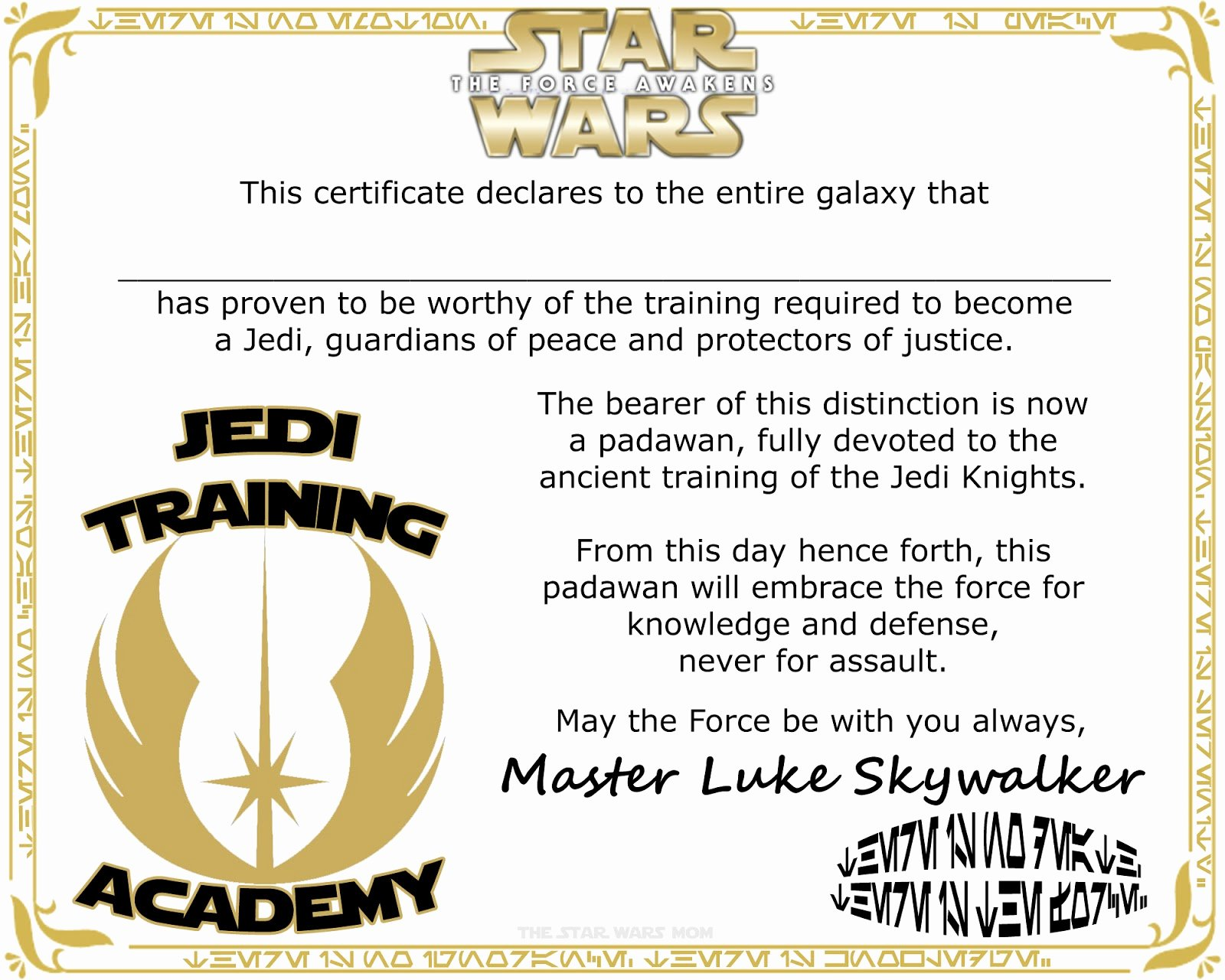 Jedi Knight Certificate Template Inspirational Star Wars Jedi Knight Training Academy Certificate