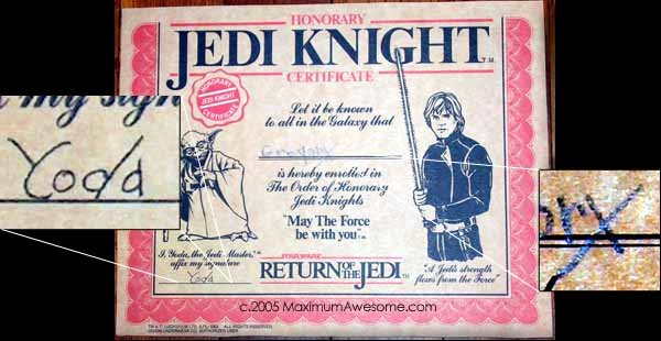 Jedi Knight Certificate Template Lovely Jedi Knight Underoos and Yoda S Awful Penmanship