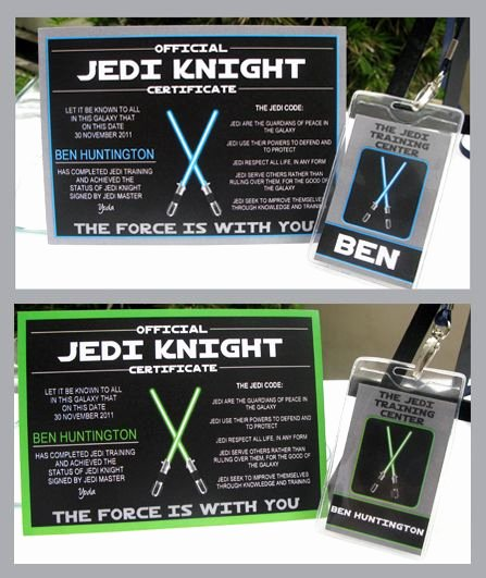 Jedi Knight Certificate Template Luxury 21 Best Images About Star Wars Birthday On Pinterest