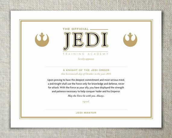 Jedi Knight Certificate Template Luxury Jedi Training Certificate Instant Download Full Service