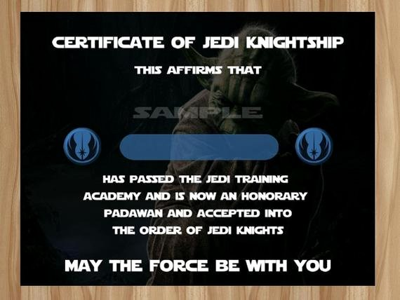 Jedi Knight Certificate Template Luxury Star Wars Jedi Certificate Jedi Certificate Star Wars