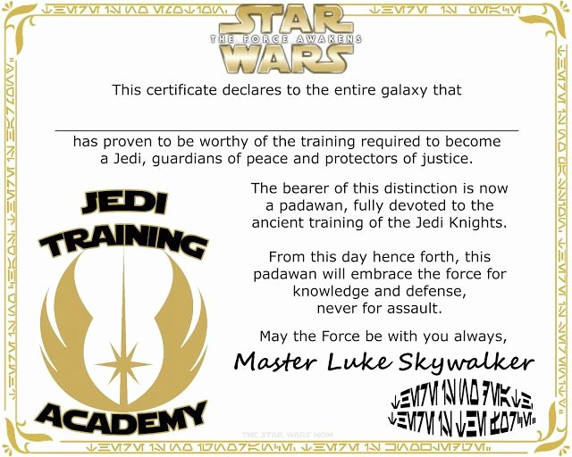 Jedi Knight Certificate Template Luxury Star Wars Jedi Training Academy Certificate Free Printable