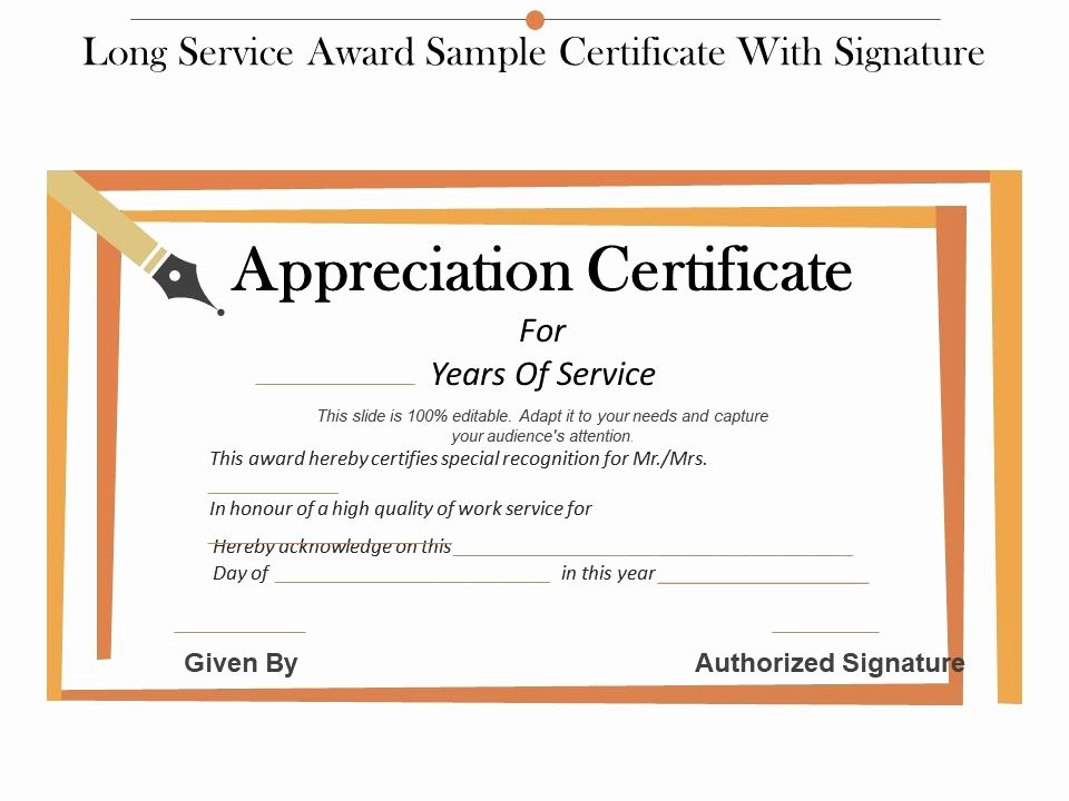 Jewelry Appraisal Certificate Template Awesome Long Service Award Sample Certificate with Signature