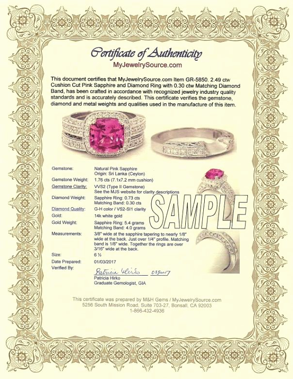 Jewelry Certificate Of Authenticity Template Awesome Myjewelrysource Certificates Of Authenticity