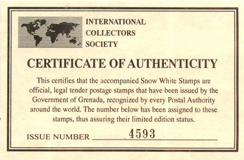 Jewelry Certificate Of Authenticity Template Beautiful Ic Light Snow White Archive Grenada Postage Stamps
