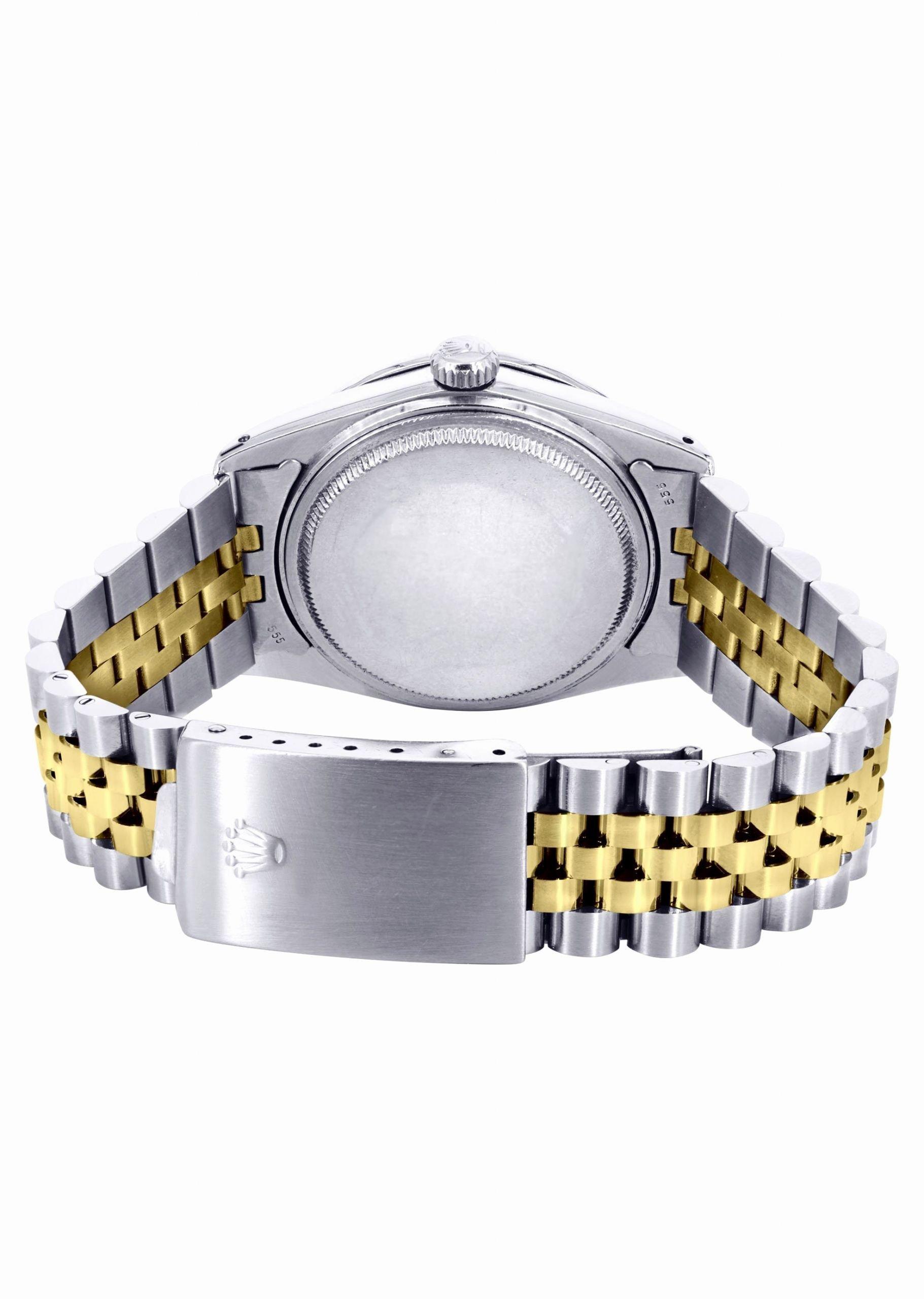 gold mens rolex datetjust watch 36mm blue dial jubiliee band