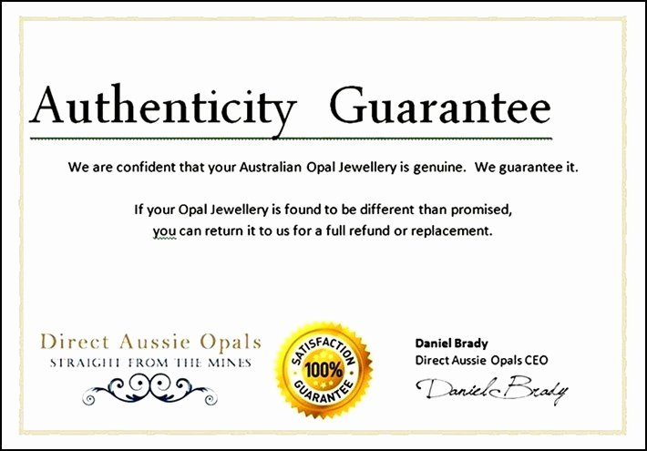 Jewelry Certificate Of Authenticity Template Luxury Free Certificate Of Authenticity Template Word Sample