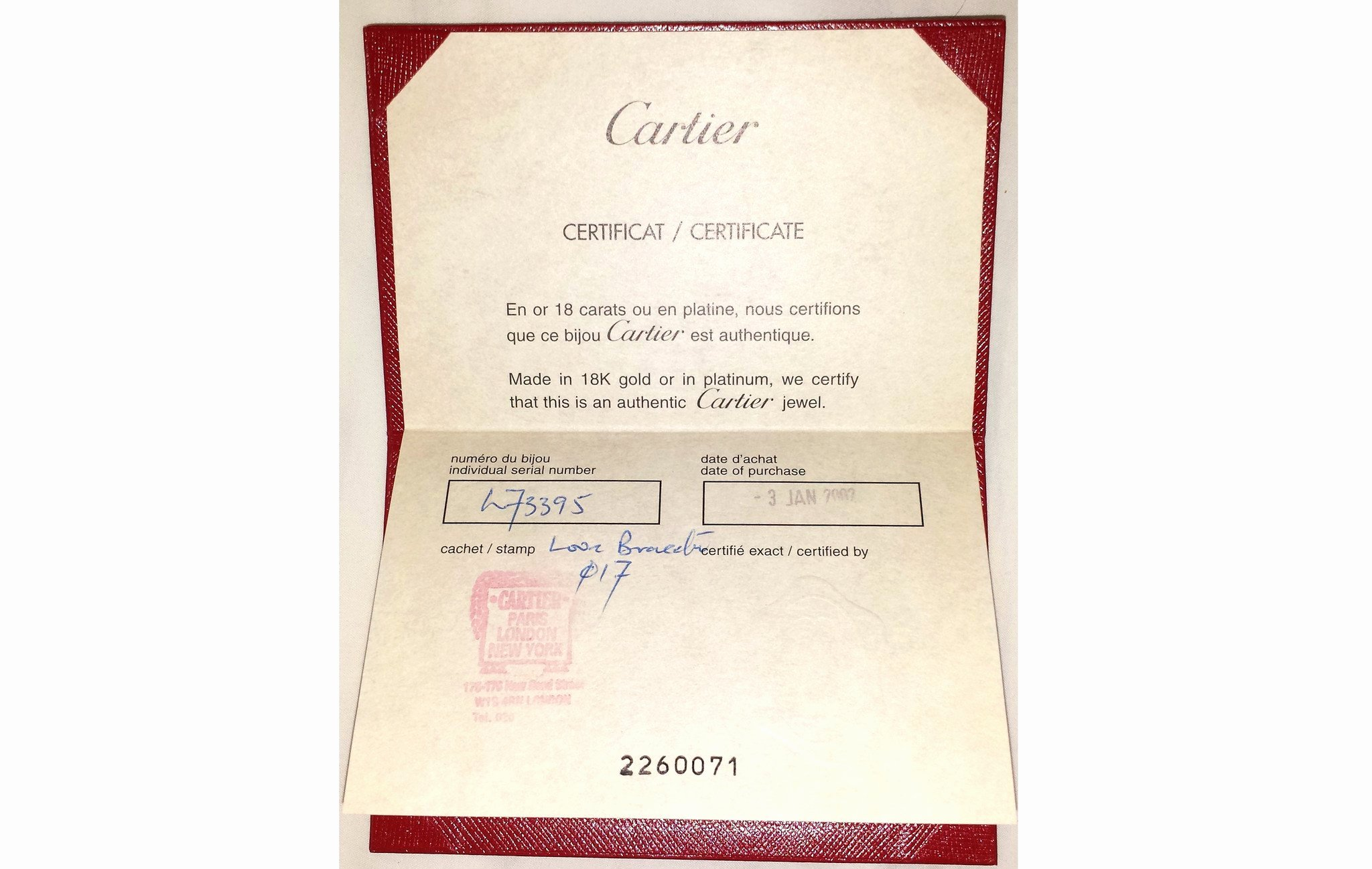Jewelry Certificate Of Authenticity Template New Cartier 18k White Gold Love Bracelet Bangle Sz 17 Box