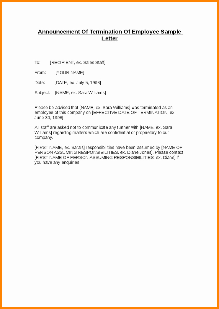 Job Notice Sample Awesome 8 Letter Of Termination Of Employment