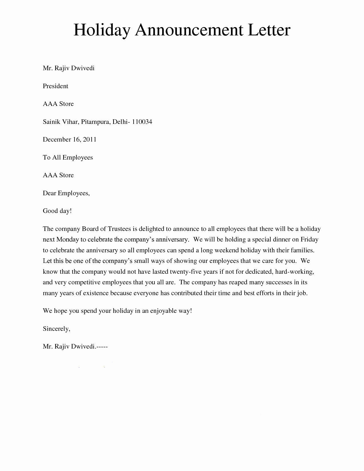Job Notice Sample Awesome Holiday Announcement Letter Giving A Letter to Inform