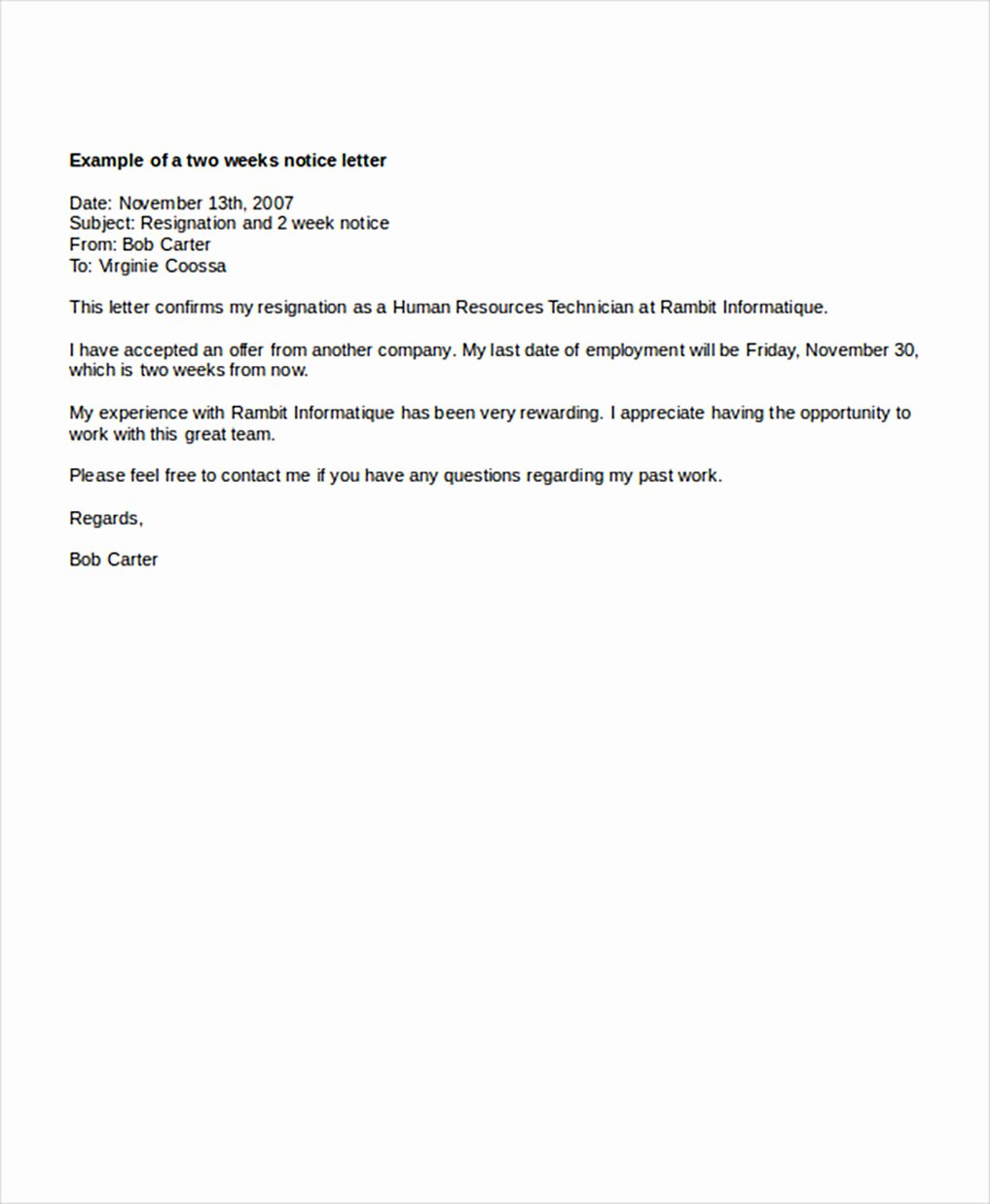 Job Notice Sample Awesome Two Weeks Notice Letters – Download Pdf Doc format