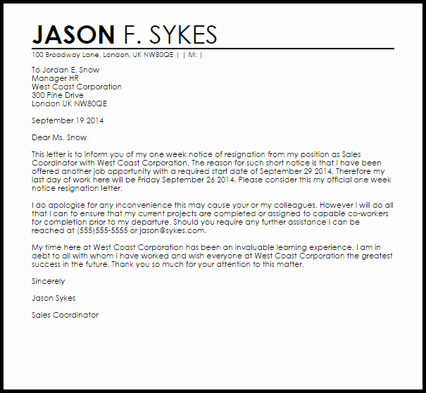 one week notice resignation letter