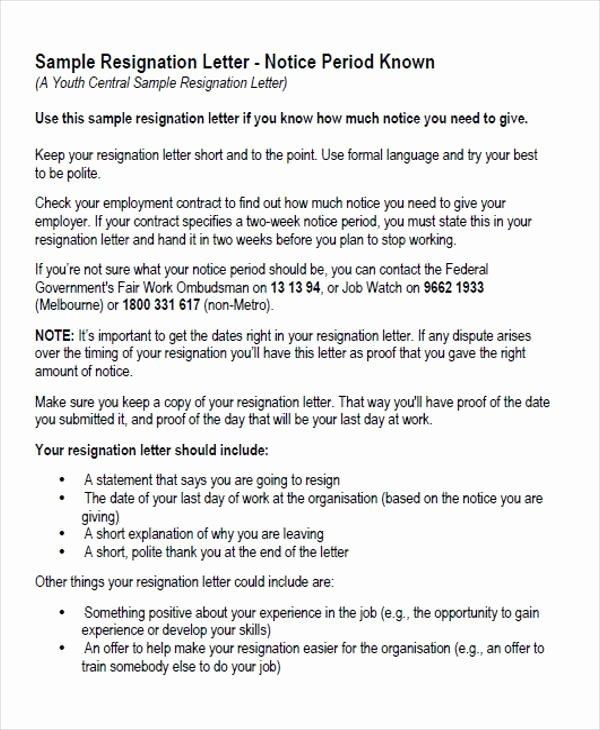Job Notice Sample Luxury 65 Sample Resignation Letters
