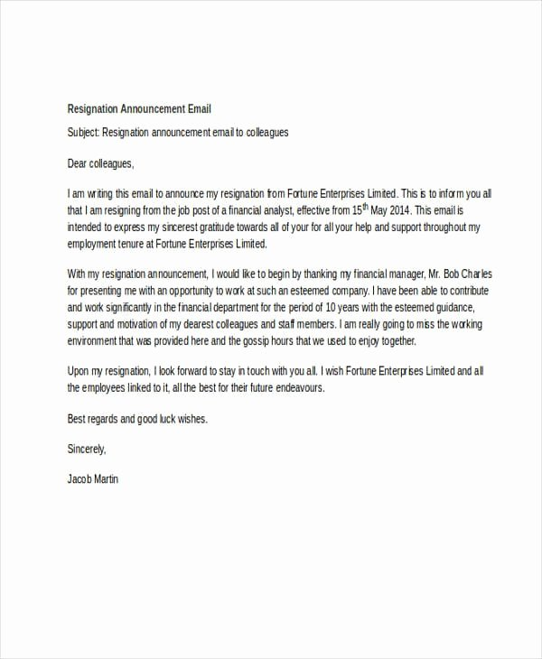 Job Notice Sample New Announcing A Resignation to Staff Samples