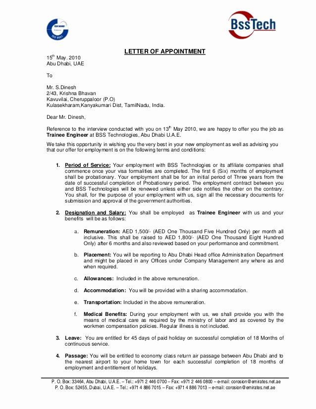 Job Offer Proposal Beautiful Fer Letter