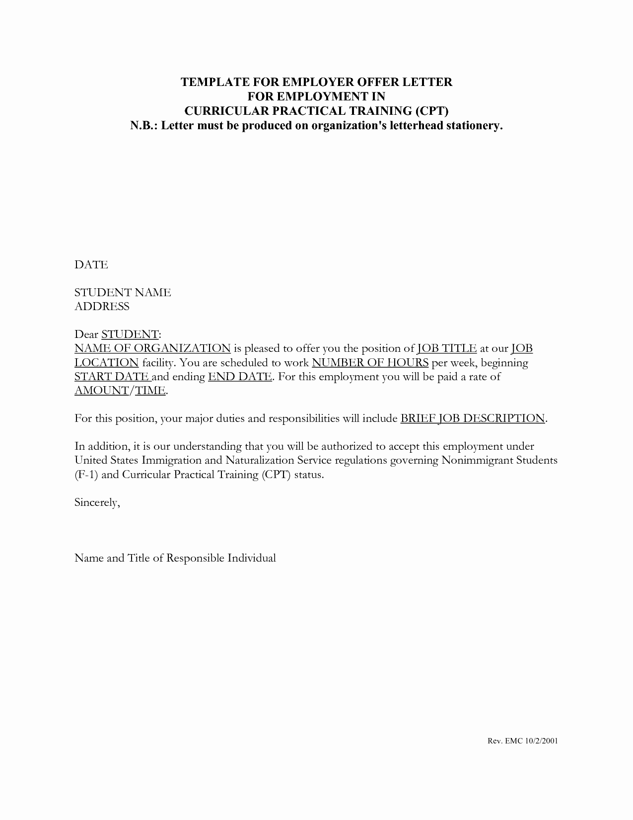 Job Offer Proposal Inspirational Job Fer Letter Template