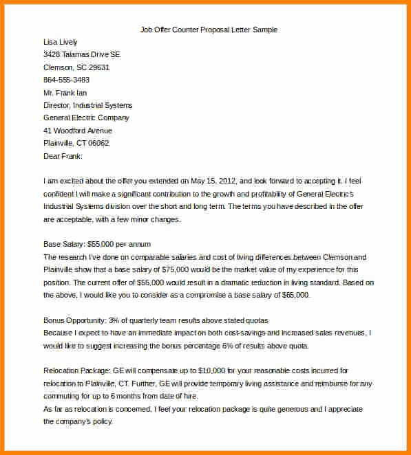 Job Offer Proposal Lovely Sample Counter Offer Letter for Job Offer – Guatemalago