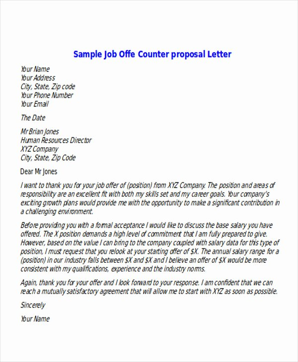 Job Offer Proposal Unique Sample Proposal Fer Letter 6 Examples In Pdf Word