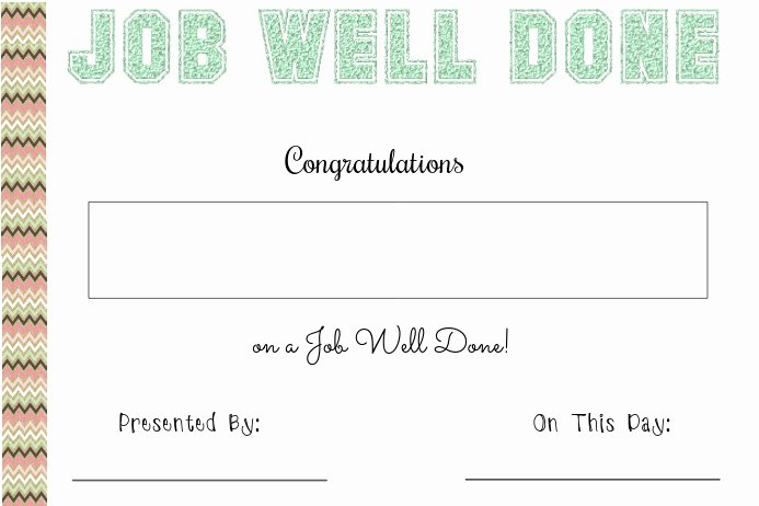 Job Well Done Certificate Awesome Job Well Done Certificate