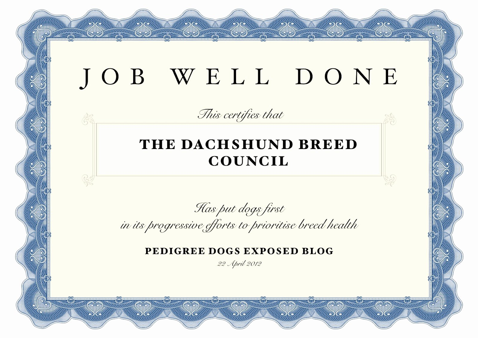 Job Well Done Certificate Awesome Pedigree Dogs Exposed the Blog Dachshund Breed Council