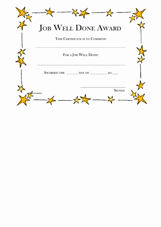Job Well Done Certificate New top 26 Funny Award Certificate Templates Free to